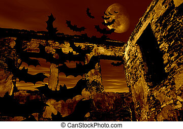 Happy Halloween. Bats are flying over the old ruin. Dramatic...