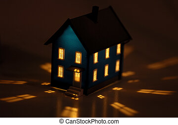 Home - Photo of a Miniature House With Interior Lighting