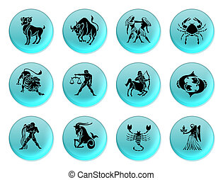 Zodiac blue - Set of icons for twelve zodiac signs