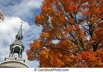 Church steeple in the fall.