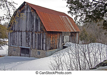 Winter barn. - Barn in Wakefield, Quebec during the winter.