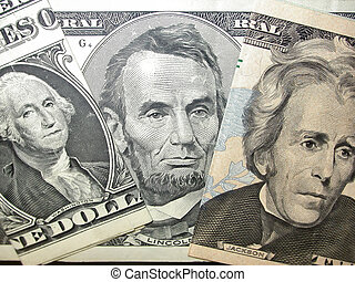 Money Portraits - George Washington, Abraham Lincoln and...