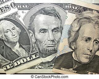 Money Portraits - George Washington, Abraham Lincoln and...