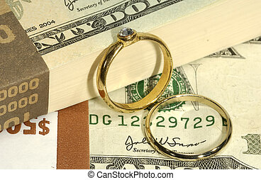 Wedding Expenses - Diamond Engagement Ring on Money -...
