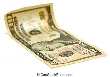 Ten Dollar Bill - Photo of a Curled Ten Dollar Bill