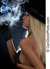 cigar girl - backlight image of topless girl smoking cigar