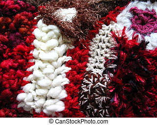 Crochet Fabric - Detail of a red and brown freeform...