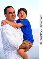 Father son portrait - Portrait of a father holding his son
