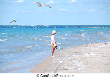 Girl beach seagulls - Young girl on a beach among flying...