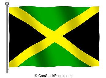 jamaiquino, bandera, ondulación