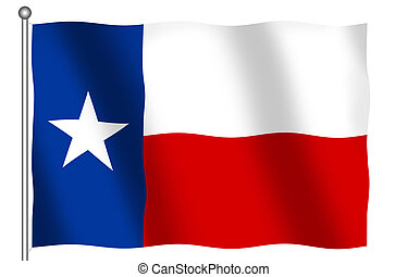 Flag of Texas - Flag of the State of Texas waving