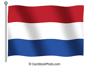 Dutch Flag - Dutch flag waving isolated over white...