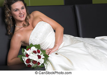 Relaxing bride - Bride relaxing on the couch