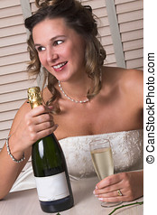 Can I have this bottle? - Happy bride holding on to the...