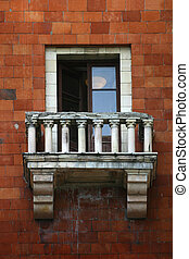 Old balcony - The image of an old balcony of a brick...