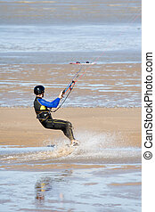 Kite surfer without water