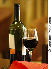 Red wine with blank label ready for your design
