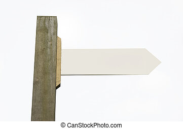 signpost cutout - A signpost on a white background, with...