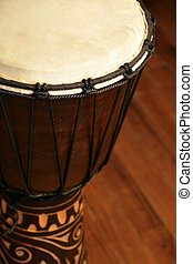 African Djembe drum - Selective focus image of a Djembe drum...
