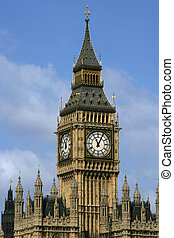 Big Ben clocktower 2 - Big Ben in London against a blue sky.