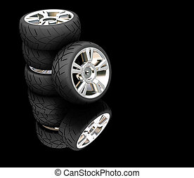 Car tyres - 3D render of car tyres