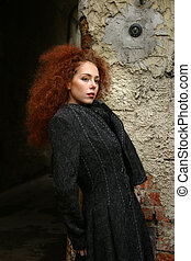 Girl with red hair - Portrait of the girl with red hair in a...