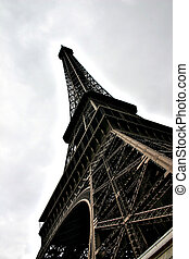 Eiffel Tower - Looking up at the Eiffel Tower Paris France