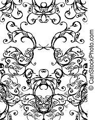 swirls - black on white - swirls and scrolls lace background