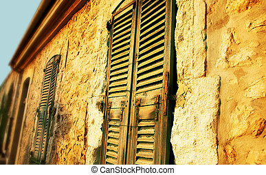 Grungy french window - Old window with shutters with cracks...