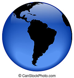 South America - Rasterized pseudo 3d globe view - South...