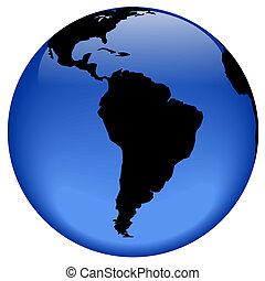 South America - Rasterized pseudo 3d globe view - South...