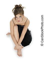 Beautiful Teen - Beautiful teen girl barefoot in black...