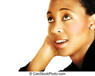 thinking young black woman - businesswoman in black suit...