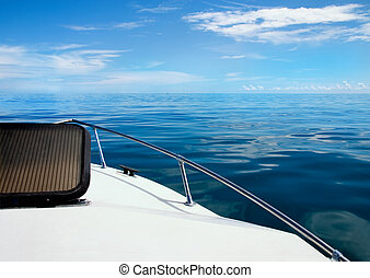 Calm Seas - Calm day on Atlantic Ocean over bow of boat