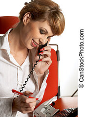 office lady making a phone call