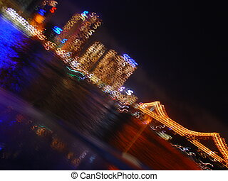 City Lights - An abstract view of Brisbane city at night...