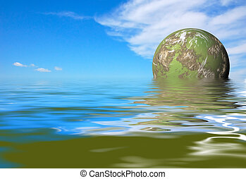 green planet rise - futuristic green planet rise
