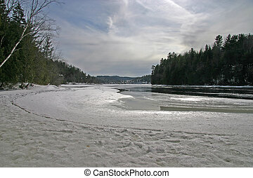 Thawing river - The Gatineau River thaws on a mild winter...