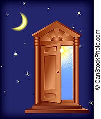 Open Door. Digital illustration. Gradient mesh, gradients,...