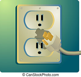 Electrical outlet, US Style - Illustration of a power outlet...