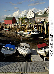 Fishing Village - Small Harbour At Low Tide