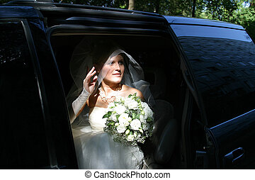Expectation - The beautiful bride in a car