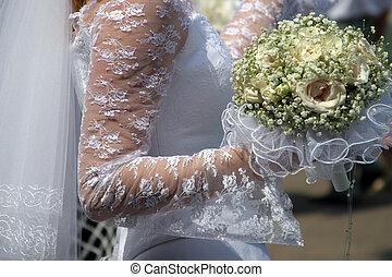 Wedding bouquet - Wedding flowers in hands of the bride