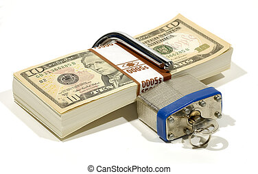 Financial Security - Stack of Money with a Lock and Key -...