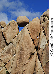 Granite rock formations in Joshua Tree National Park,...