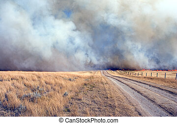 dangerous road - Back road blocked by fire and smoke