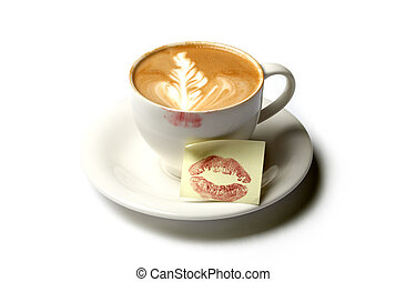 morning kiss - cup of barista coffee with kiss note