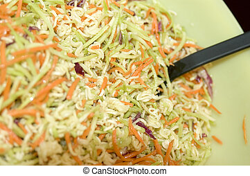 home made cole slaw salad macro with shallow depth of field