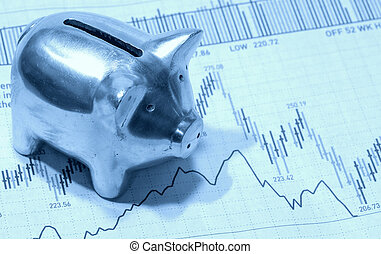Investing - Photo of a Piggy Bank on Top of a Stock Chart in...