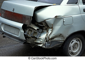 car crash - automobile accident in the rainy day